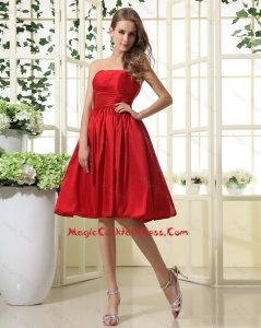 Comfortable Ruching and Pleats Short Cocktail Dresses in Red for 2016