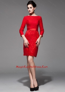 Dramatic 2016 Lace 3/4 Sleeves Short Red Cocktail Dress with Belt