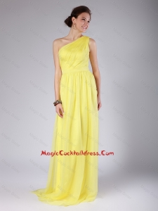 Elegant One Shoulder Sashes Yellow Cocktail Dresses with Sweep Train for 2016