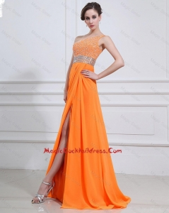 Exquisite Beading and High Slit Orange 2016 Cocktail Dresses with Brush Train
