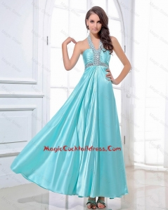 Gorgeous Halter Top Beading Ankle Length Aqua Blue Cocktail Dresses