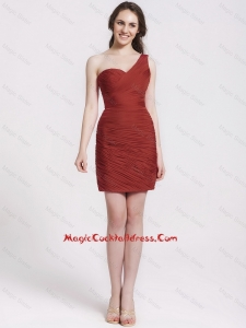 Gorgeous One Shoulder Ruching Short Cocktail Dresses in Wine Red