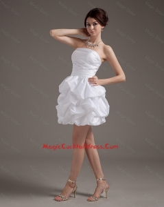 Latest Short Strapless White Cocktail Gowns with Pick Ups