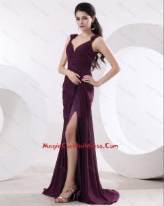 Most Popular Straps Brush Train Long Purple Prom Dresses with High Slit