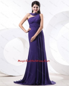 2016 Elegant Ruching Eggplant Purple Cocktail Dress with Brush Train