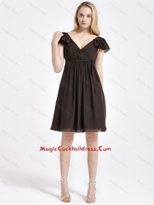 2016 Exclusive V Neck Sashes Short Cocktail Dresses in Brown