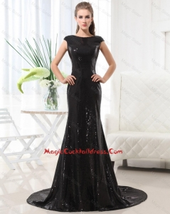 Beautiful Column Bateau Brush Train Sequins Cocktail Dresses in Black