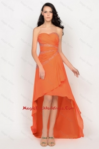 Beautiful High Low Orange Cocktail Dress with Beading for 2016