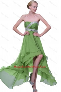 Classical Strapless Beaded Cocktail Dresses with High Low