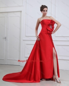 Exquisite Straples Beading and Bowknot Red Cocktail Dresses with Brush Train