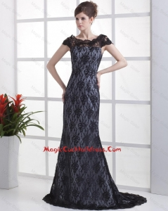 Luxurious Column Lace Black Cocktail Dresses with Brush Train