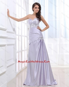 Beautiful Column Elastic Woven Satin Cocktail Dresses with Beading
