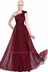 Beautiful Ruched Burgundy Cocktail Gowns with One Shoulder