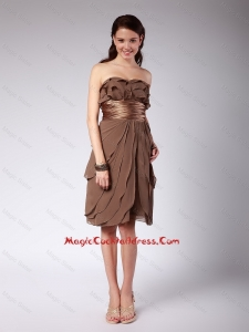 Elegant Ruffles and Belt Short Cocktail Dresses in Brown for 2016