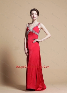 Exclusive Empire V Neck Beaded Cocktail Dresses with Watteau Train