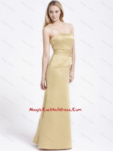 Formal Column Strapless Cocktail Gowns with Ruching