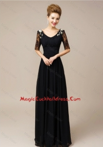 Gorgeous Half Sleeves Laced Black Cocktail Dresses with V Neck