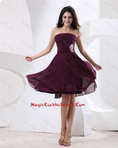 Luxurious Strapless Brown Short Cocktail Dress with Appliques