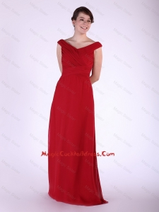 New Arrival V Neck Wine Red Long Cocktail Dress with Ruching