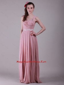 New Arrivals Brush Train Straps Belt Cocktail Dresses in Peach