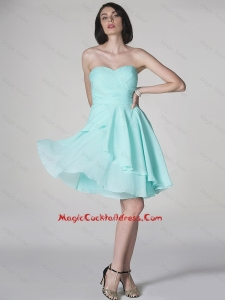 New Style Side Zipper Ruched Short Cocktail Dresses with Sweetheart