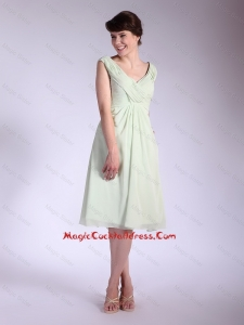 Popular V Neck Ruched Cocktail Dresses with Tea Length