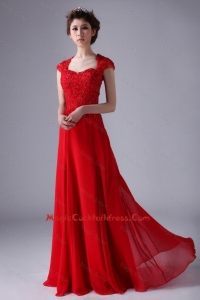 V Neck Lace and Red 2016 Cocktail Dresses with Beading and Lace