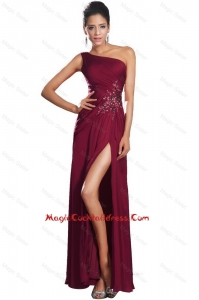 Beautiful High Slit Cocktail Gowns with Beading and Ruching