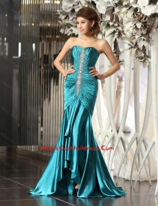 Luxurious Mermaid Brush Train Beaded Cocktail Dresses in Teal