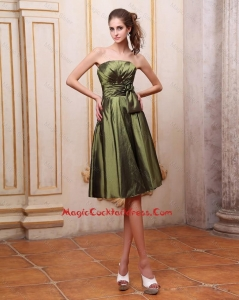 Popular Strapless Short Cocktail Dresses with Hand Made Flowers