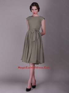 2016 Cheap Empire Bateau Cocktail Dresses with Bowknot