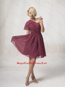 2016 New Style One Shoulder Burgundy Cocktail Dresses with Ruching