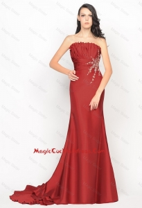 Beautiful Column Strapless Rust Red Cocktail Dresses with Brush Train