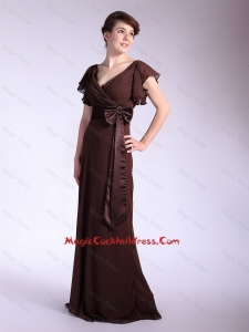 Elegant Belt and Bowknot Brown Cocktail Dresses with Brush Train