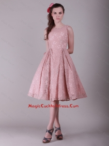 Fashionable Ruching Lace cocktail Dresses in Peach for 2016
