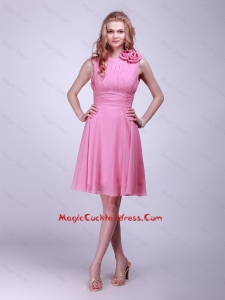 Gorgeous Rose Pink Cocktail Dresses with Pleats and Hand Made Flowers for 2016