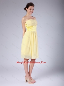 Hot Sale Yellow Strapless Cocktail Dresses with Knee Length