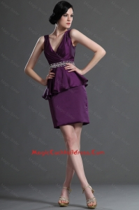 Most Popular V Neck Short Eggplant Purple Cocktail Dresses with Beading