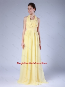 New Arrivals Halter Top Yellow Cocktail Dresses with Brush Train