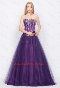 Popular A Line Sweetheart Lace Up cocktail Gowns in Purple