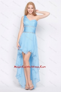 Affordable One Shoulder Beading High Low Cocktail Dresses in Baby Blue