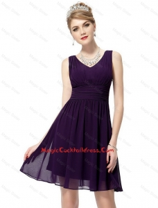 Beautiful V Neck Dark Purple Cocktail Dresses with Ruching