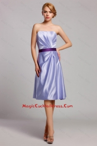 Classical Empire Strapless Short cocktail Dresses with Belt in Lavender