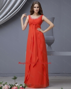 Elegant Scoop Beading Red cocktail Dress in Chiffon for 2016