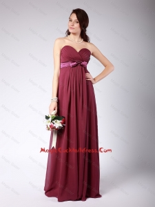 Gorgeous Sweetheart Burgundy cocktail Dress with Belt and Bowknot