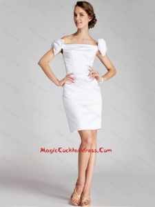 Pretty Bowknot Off the Shoulder Cocktail Dresses in White