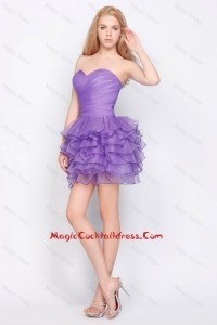 Pretty Sweetheart Lavender Short Cocktail Dresses with Ruffled Layers