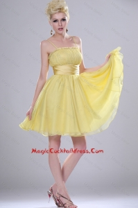 Pretty Yellow Mini Length 2016 Cocktail Dresses with Spaghetti Straps