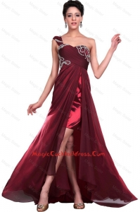 Wonderful One Shoulder Wine Red Cocktail Dresses with Beading for 2016