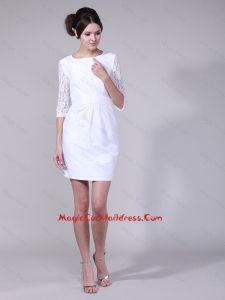 2016 Fashionable Column Bateau Laced Half Sleeves Cocktail Dresses in White